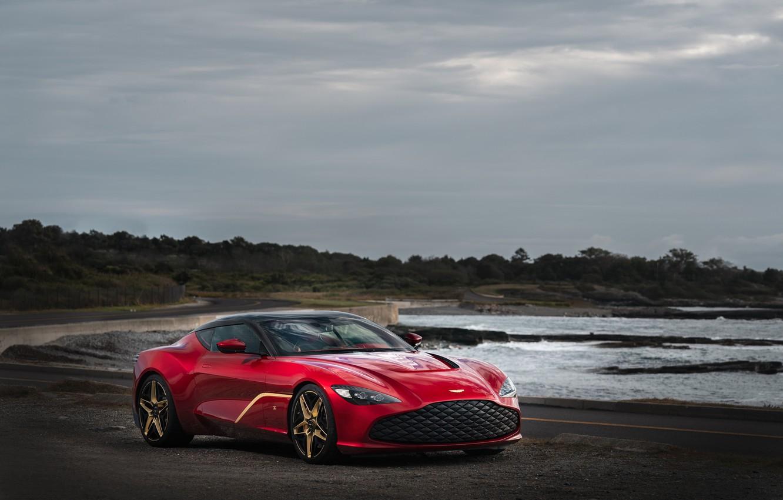 Photo wallpaper red, Aston Martin, coast, coupe, Zagato, 2020, V12 Twin-Turbo, DBS GT Zagato, 760 HP