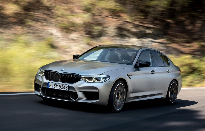 Photo wallpaper grey, movement, blur, BMW, sedan, 4x4, 2018, four-door, M5, V8, F90, M5 Competition