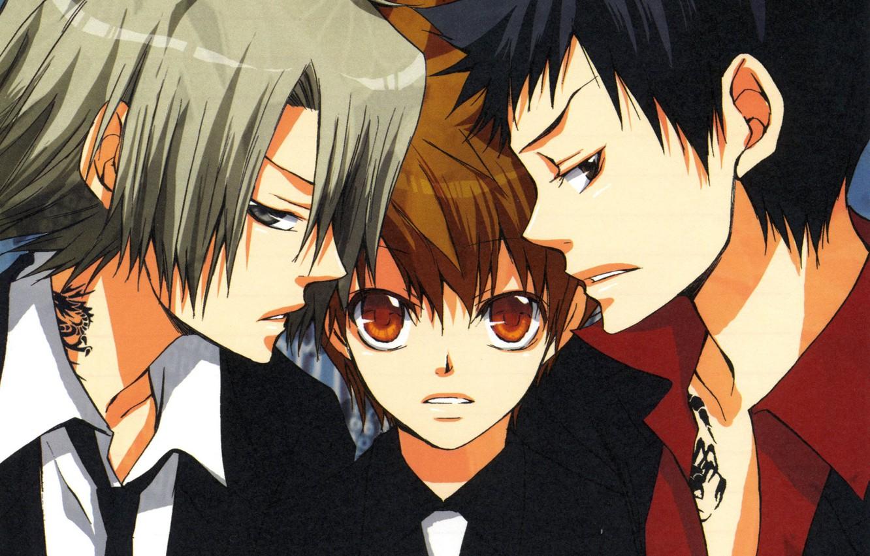 Photo wallpaper background, guys, trio, mafia, Katekyo Hitman Reborn!, Teacher mafia Reborn