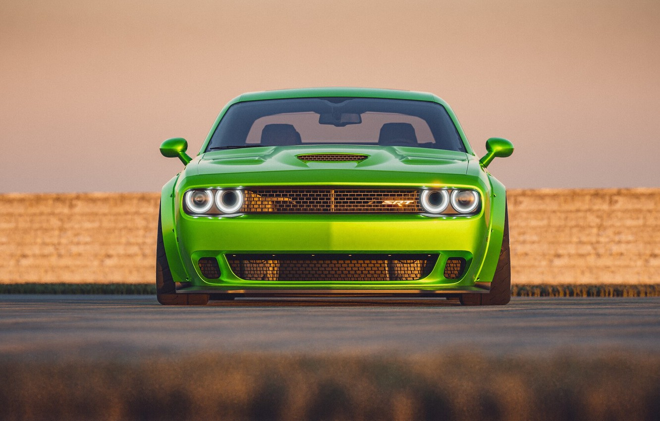 Photo wallpaper Auto, Green, Machine, Car, Dodge Challenger, SRT, Muscle, Transport & Vehicles, by Cameron Parmer, Cameron …
