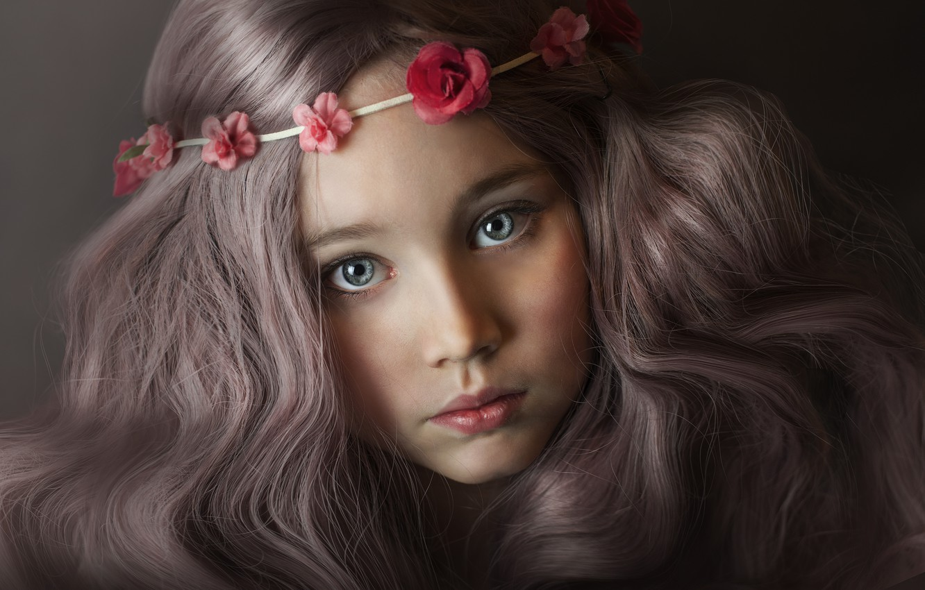 Photo wallpaper eyes, look, flowers, close-up, face, the dark background, hair, child, portrait, blue, girl, brown hair, …