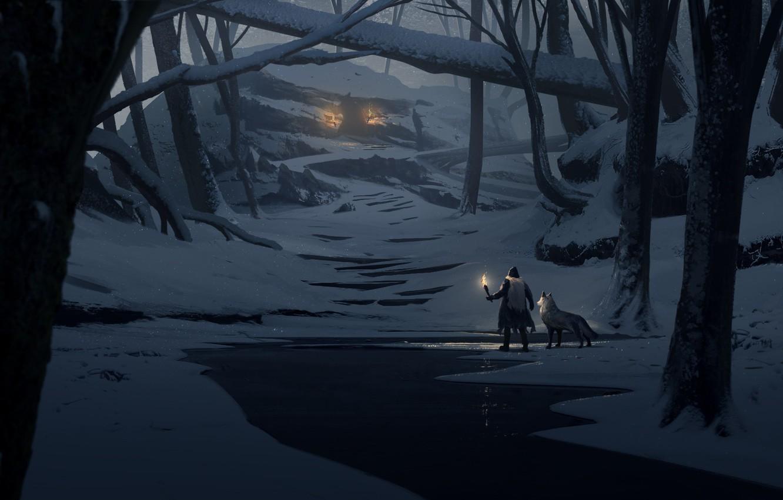 https://img5.goodfon.com/wallpaper/nbig/c/39/forest-man-wolf-wizard-trees-trunks-winter-snow-night-torch.jpg