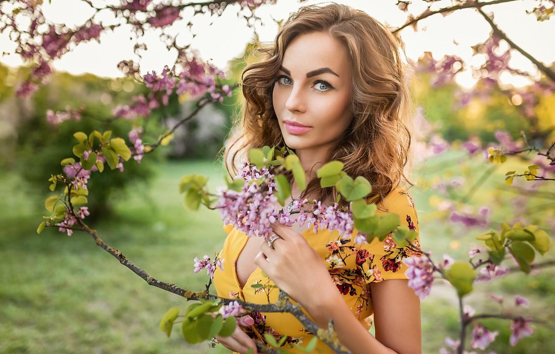 Photo wallpaper smile, flowers, blonde, A Diakov George