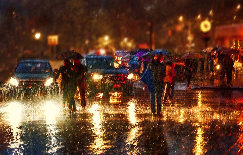 Photo wallpaper machine, city, the city, people, rain, rain, cars, people, Anette Ohlendorf