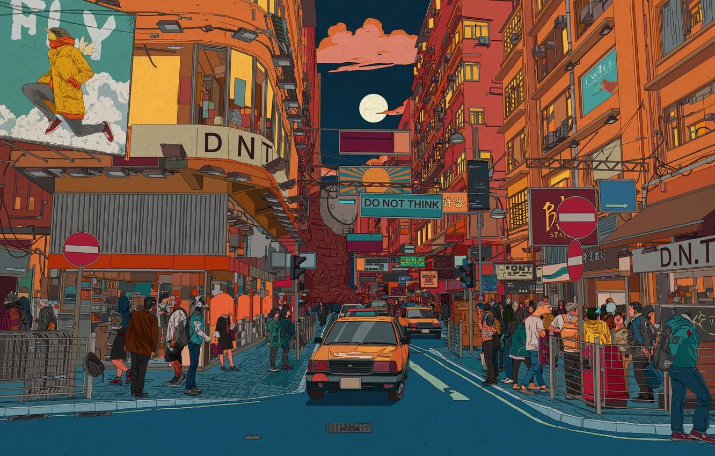 Photo wallpaper Auto, Road, The city, Robot, Machine, Robots, People, Style, Astronaut, City, Fantasy, Art, Style, Fiction, …