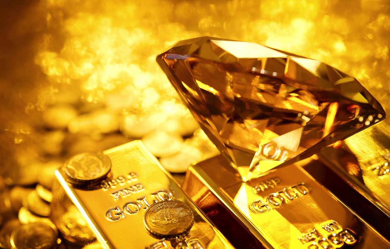 Photo wallpaper gold, diamond, coins