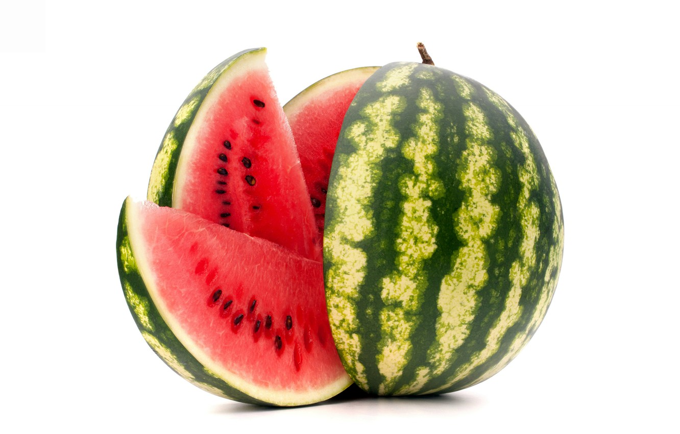 Photo wallpaper watermelon, berry, white background, treat