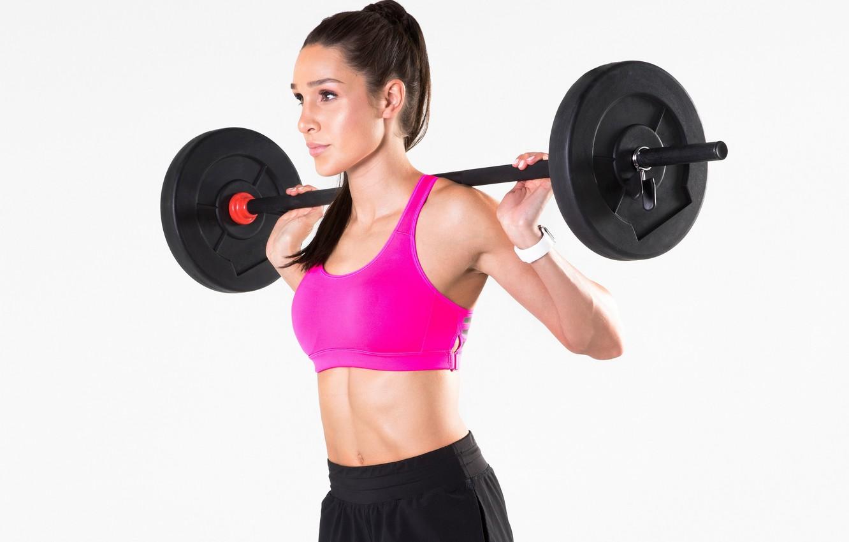 Photo wallpaper pose, figure, fitness, iron, rod, iron, training, fitness, training, gym