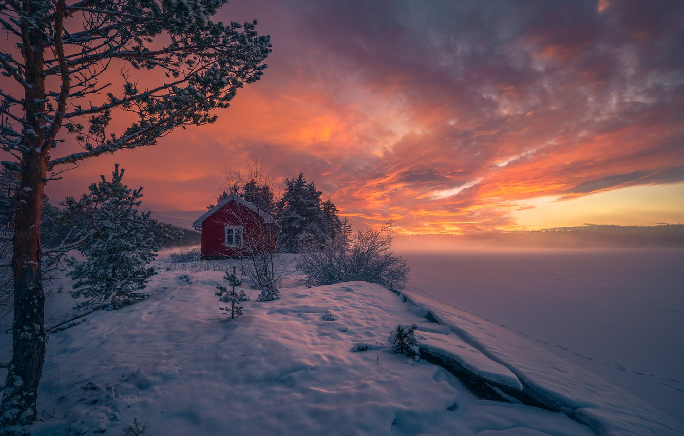 Photo wallpaper winter, snow, trees, sunset, Norway, house, Norway, RINGERIKE, Ringerike, frozen lake