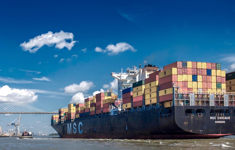 Photo wallpaper bridge, river, the ship, cargo, a container ship, container