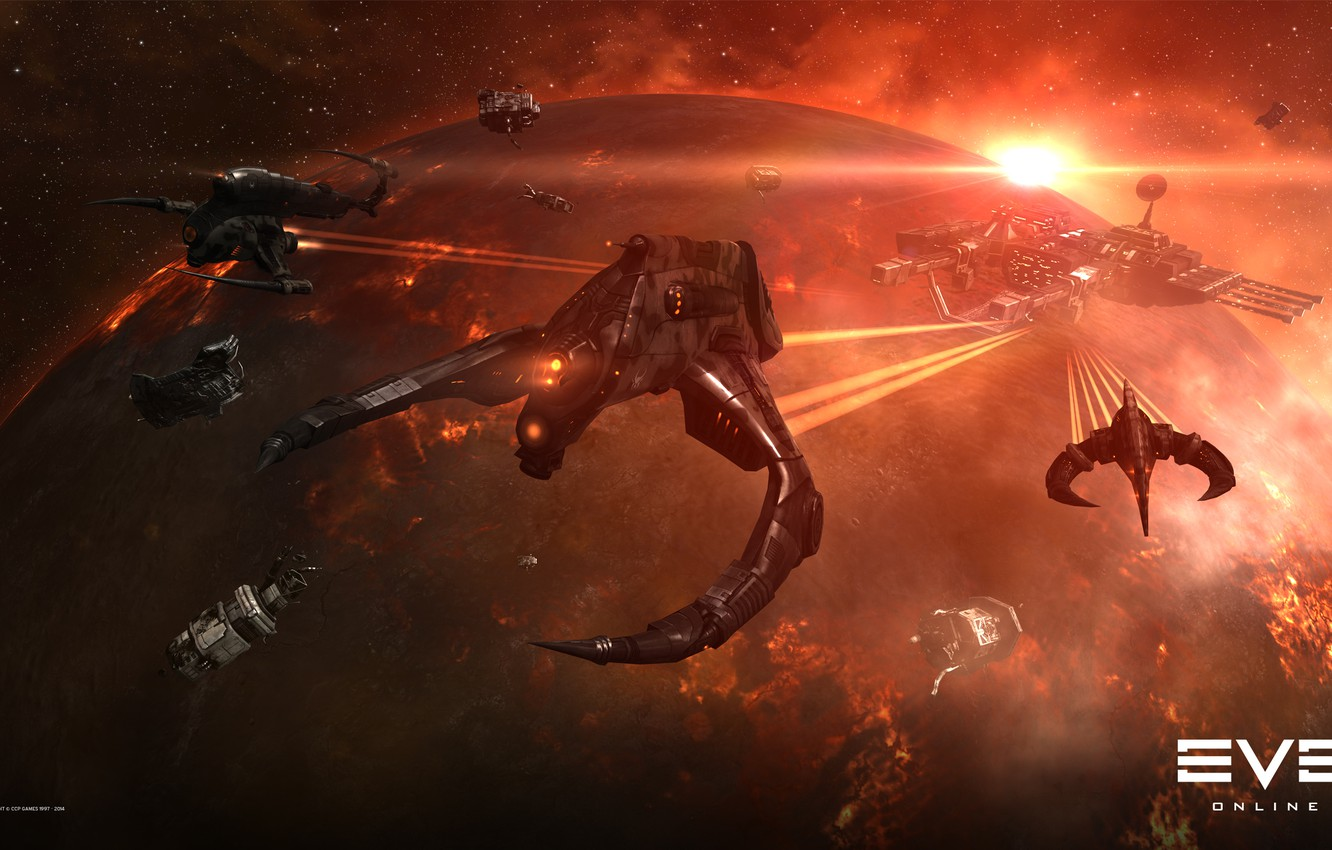 Photo wallpaper nebula, planet, station, Space, space, ruins, battle, spaceship, eve online, battle, space ship, coooper