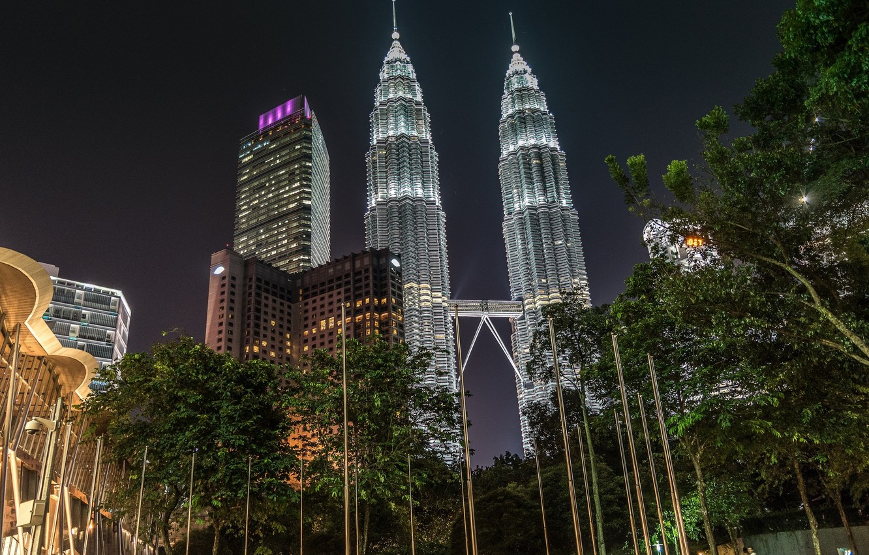 Photo wallpaper night, tower, Malaysia, Kuala Lumpur