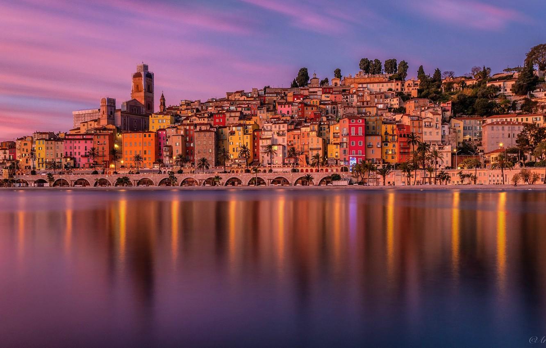 Photo wallpaper sea, sunset, bridge, France, building, home, France, French Riviera, The French Riviera, The Mediterranean sea, …