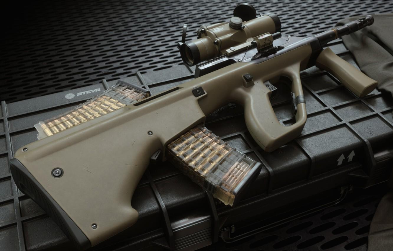 Photo wallpaper rendering, weapons, machine, rifle, weapon, render, custom, render, 3d art, AUG, assault rifle, assault Rifle, …