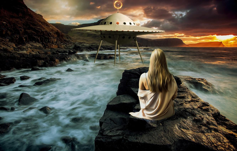 Photo wallpaper sea, wave, girl, sunset, mountains, clouds, nature, pose, stones, fiction, rocks, shore, hair, back, ship, …