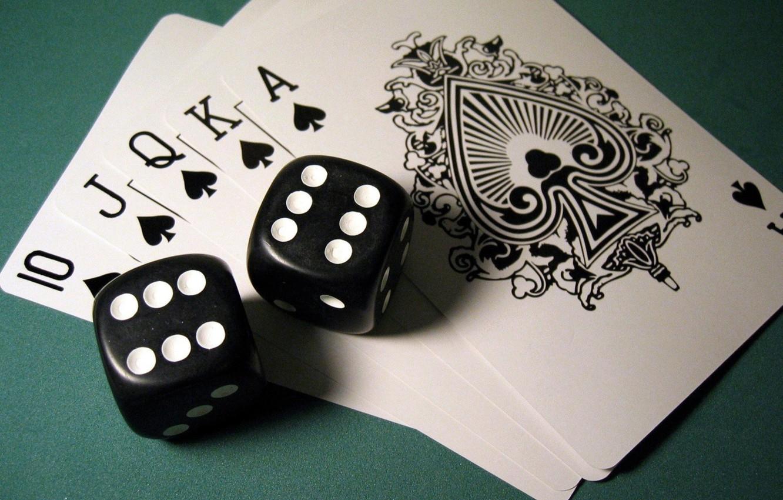 Photo wallpaper card, cubes, poker