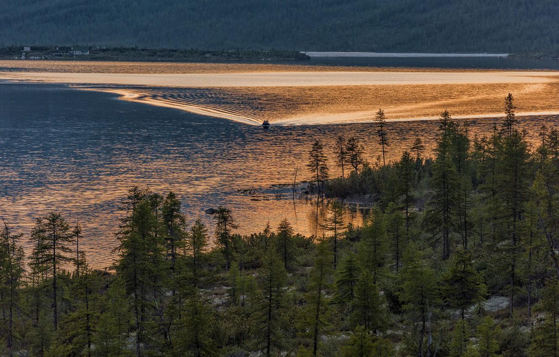 Photo wallpaper trees, landscape, nature, lake, boat, Bank, Vladimir Ryabkov, Kolyma, white night, the lake of Jack …