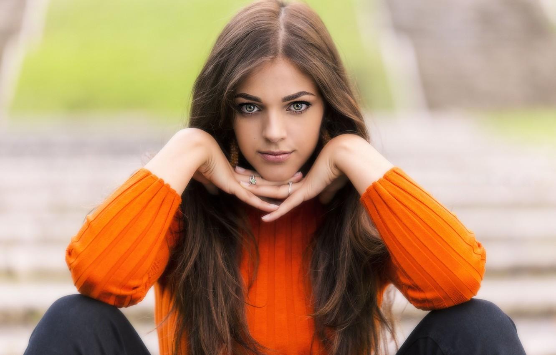 Photo wallpaper look, hair, brown hair, Elena, bokeh