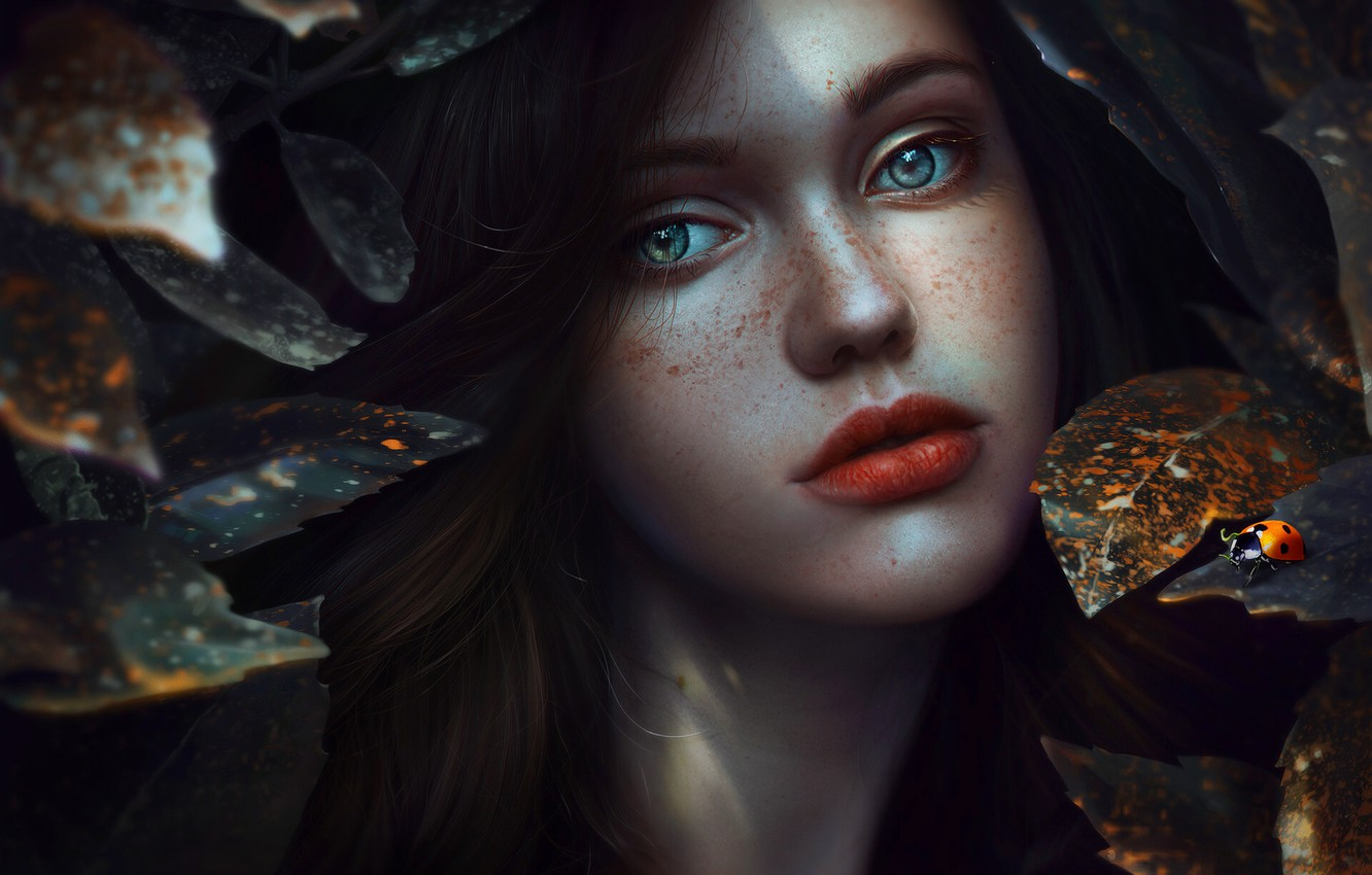Photo wallpaper Girl, Look, Leaves, Lips, Face, Girl, Eyes, Plants, Ladybug, Art, Beautiful, Art, Beauty, Eyes, Beautiful, …