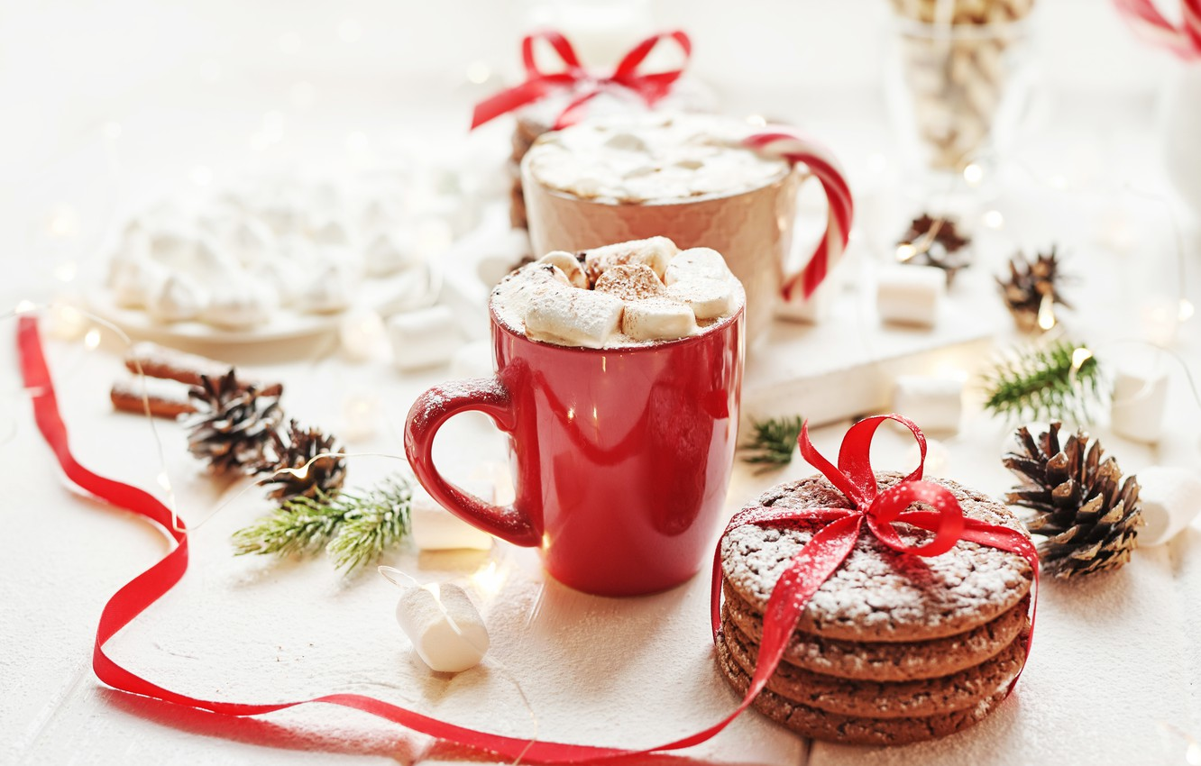 Photo wallpaper holiday, cookies, tape, Cup, bumps, hot chocolate, marshmallows