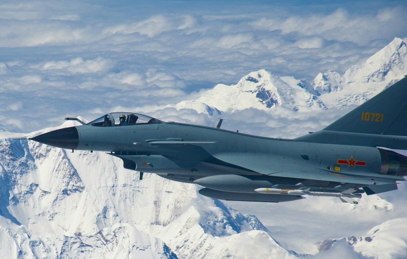 Photo wallpaper fighter, Mountain, Jet, airplane, J-10, Chinese airforce