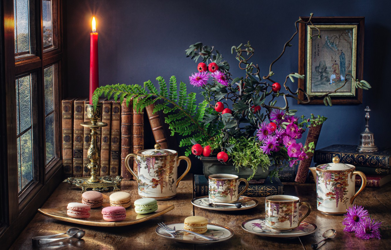 Photo wallpaper flowers, table, books, candle, picture, window, the tea party, Cup, dishes, still life, cakes