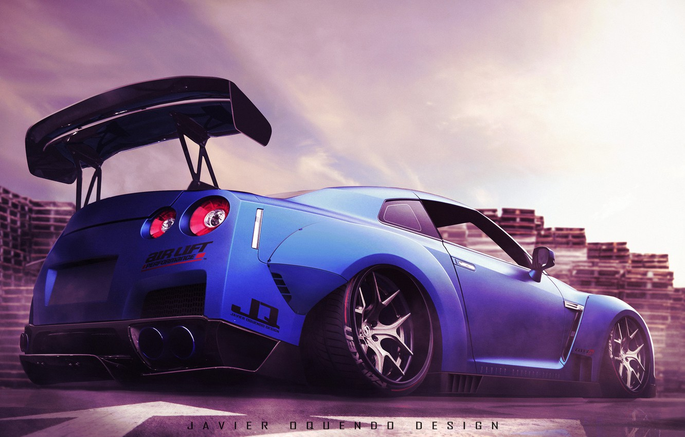 Photo wallpaper Auto, Blue, Machine, Nissan, Nissan GTR, Transport & Vehicles, Javier Oquendo, by Javier Oquendo