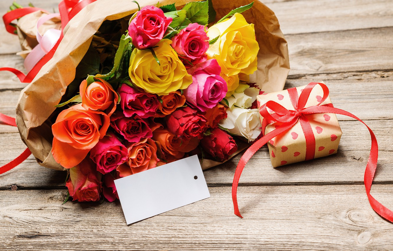 Photo wallpaper gift, roses, bouquet, bow, March 8, gift, bouquet, roses