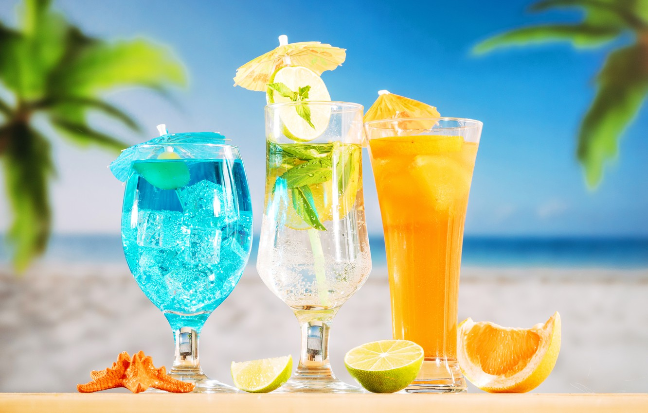 Photo wallpaper beach, summer, stay, cocktail, ice, summer, drinks, beach, vacation, fresh, fruit, drink, vacation, tropical