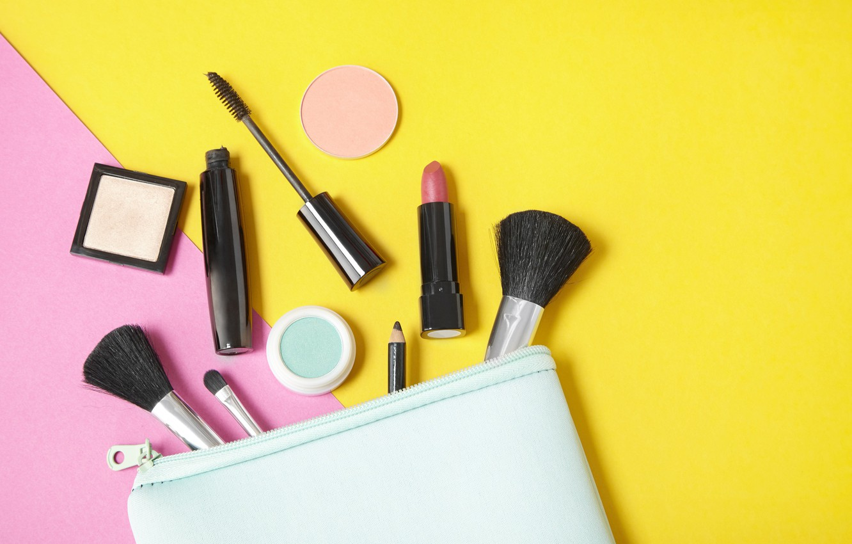 Photo wallpaper yellow, pink, lipstick, mascara, pencil, brush, cosmetics, powder