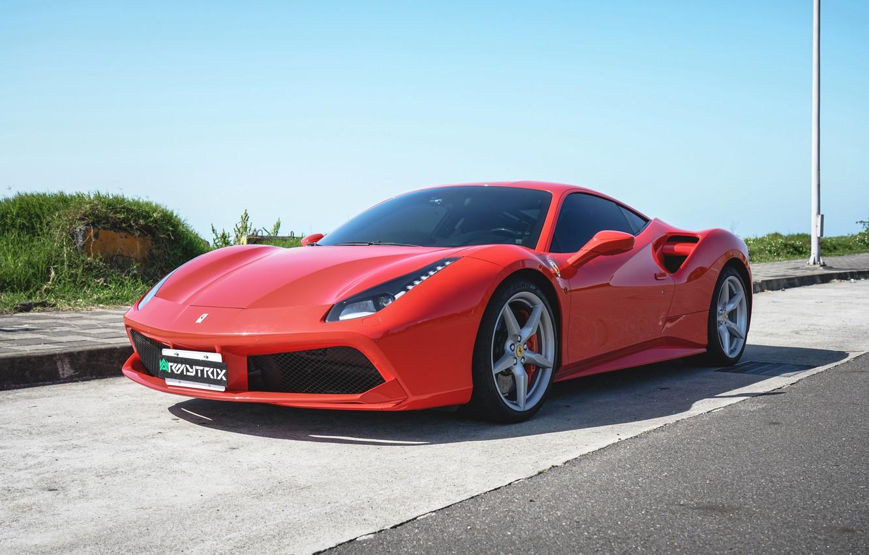 Photo wallpaper Ferrari, Exhaust, 488, Armytrix, Valvetronic