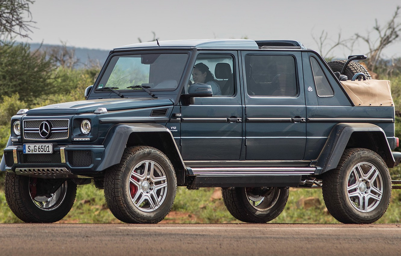 Photo wallpaper car, machine, blue, street, Mercedes-Benz, large, SUV, turbo, Maybach, pickup, V12, wheel, 4x4, G-Class, Mercedes …
