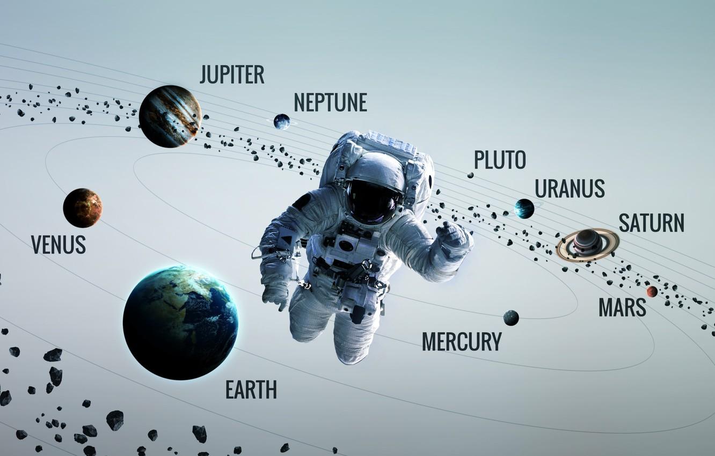 Photo wallpaper Saturn, Space, Earth, Planet, Astronaut, Astronaut, Mars, Jupiter, Neptune, Mercury, Venus, Planets, Saturn, Earth, Asteroids, …