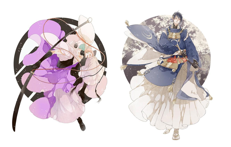 Photo wallpaper katana, white background, gloves, Japanese clothing, samurai, Touken Ranbu, Mikazuki Munechika, Dance Of Swords, Iwatooshi