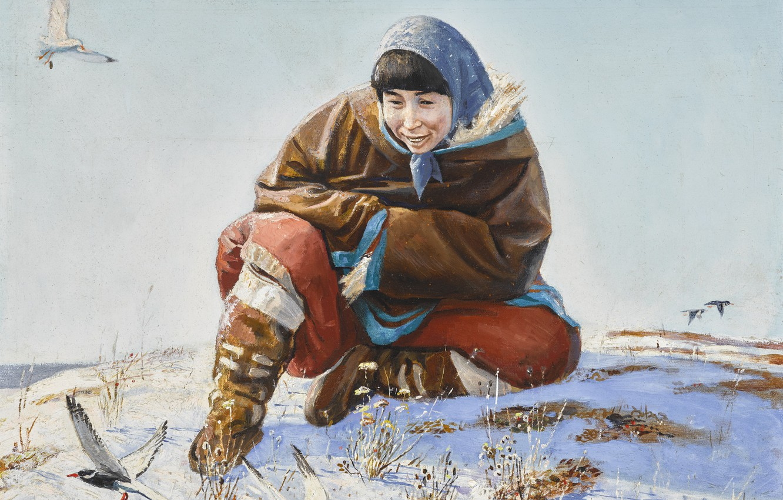 Photo wallpaper winter, birds, Andrei Alekseevich Yakovlev, a woman in a scarf, ARCTIC WONDER