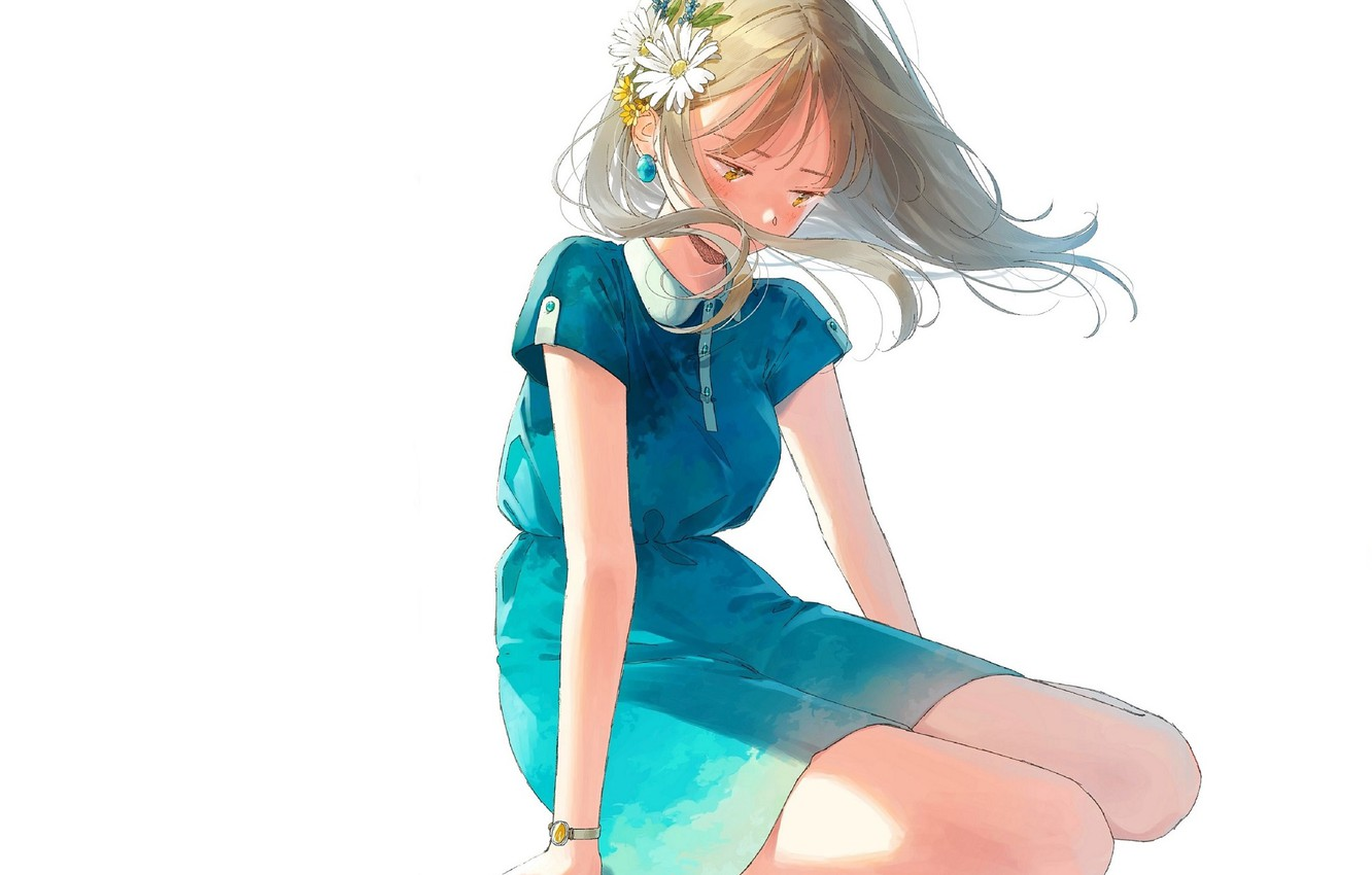 Photo wallpaper girl, white background, flower in hair, blue dress, watch, sitting on my lap