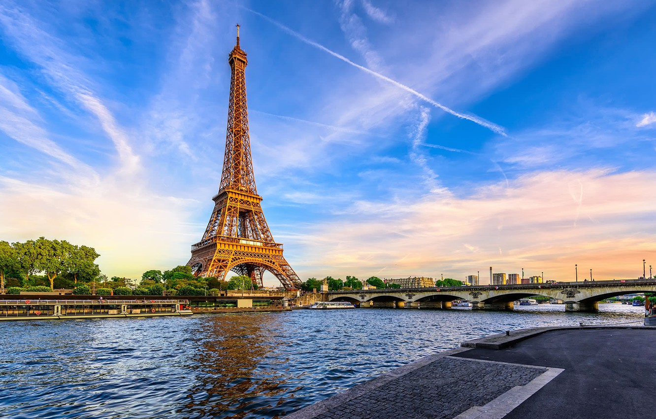 Photo wallpaper Eiffel tower, Paris, Bridge