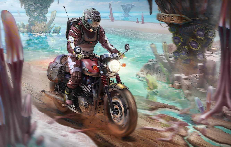 Photo wallpaper Figure, Motorcycle, Art, Bike, Concept Art, Biker, Transport, Transport & Vehicles, Lee Oscar Meyer, by …