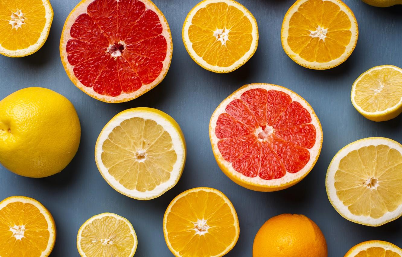 Photo wallpaper lemon, orange, oranges, citrus, citrus, lemons, grapefruit