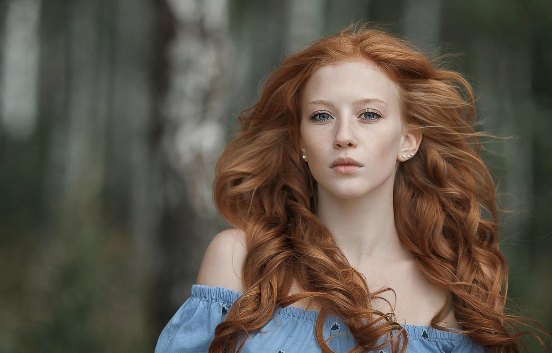 Wallpaper look, girl, freckles, redhead