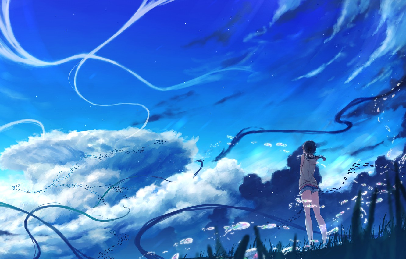 Photo wallpaper The sky, Clouds, Girl, Hina Amano, Child Of The Weather