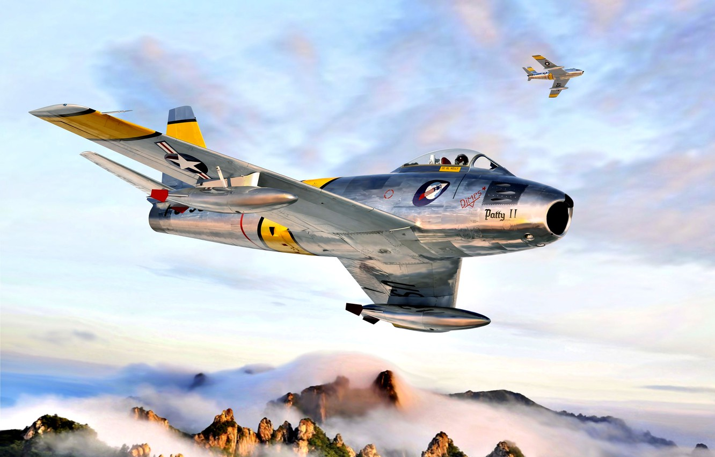 Photo wallpaper Mountains, USA, Sabre, F-86F, The Korean war 1950-1953, Korea 1953