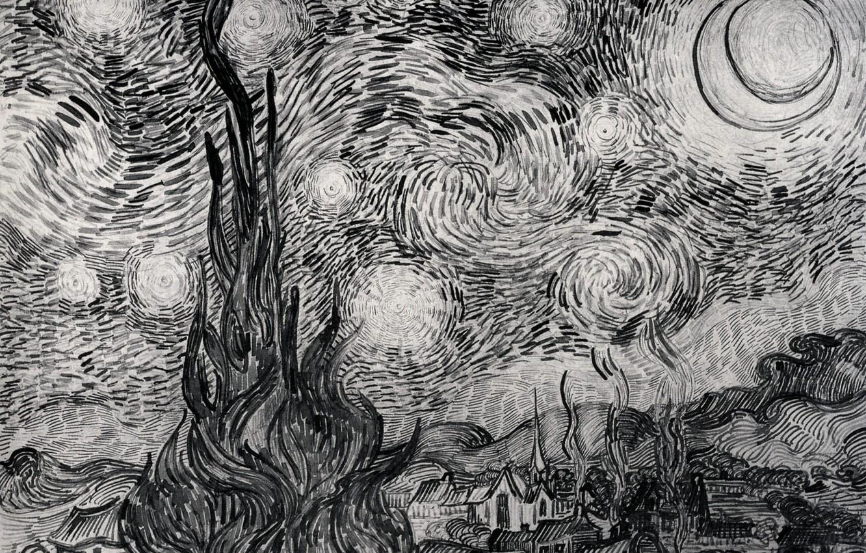 Wallpaper Bush Vincent Van Gogh Night In The Village