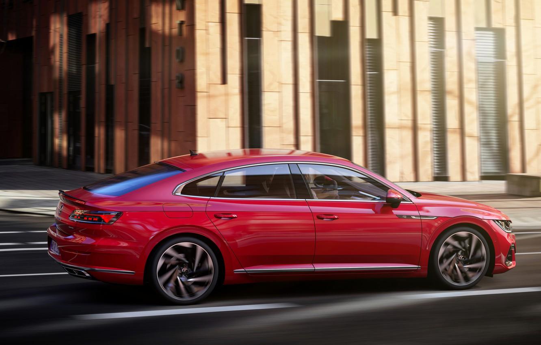Photo wallpaper red, street, Volkswagen, R-Line, liftback, 2020, Arteon
