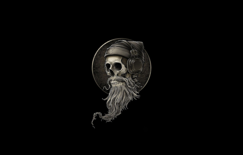 Photo wallpaper Minimalism, Skull, Headphones, Style, Background, Fantasy, Beard, Art, Art, Style, Sake, Fiction, Headphones, Fiction, Skeleton, …