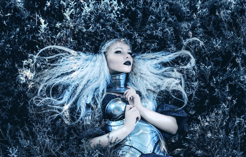 Photo wallpaper grass, look, girl, style, hair, fantasy, lies, image, knight, warrior, photoart, Kindra Nikole