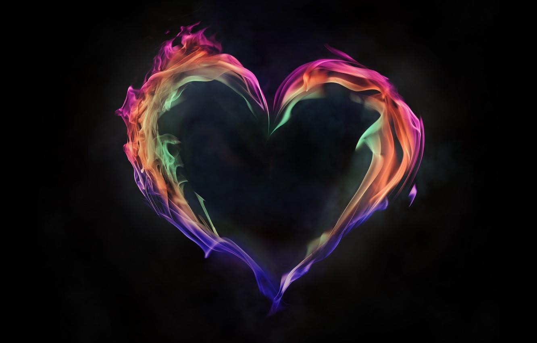 Photo wallpaper flame, paint, heart, smoke, gas