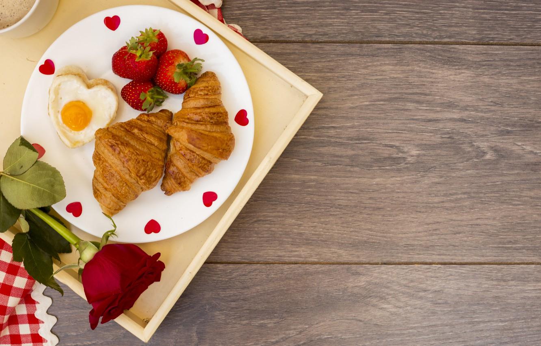 Photo wallpaper Breakfast, strawberry, romantic, breakfast, Croissants