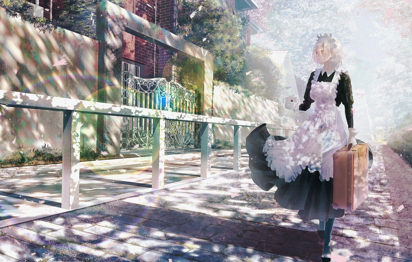 Photo wallpaper letter, fence, gate, suitcase, the sidewalk, uniform, Sunny day, the maid, the maid, city street
