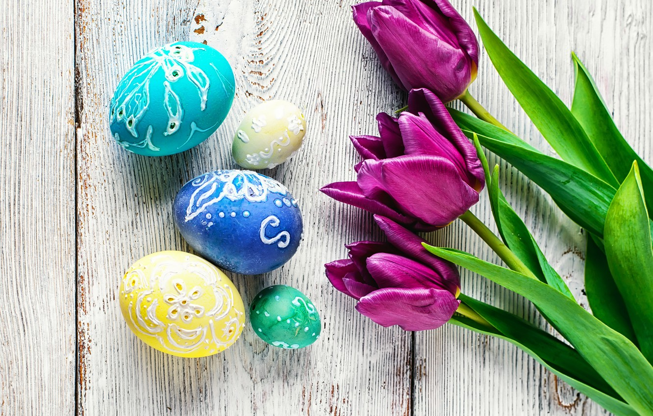 Photo wallpaper flowers, eggs, colorful, Easter, tulips, happy, flowers, tulips, purple, eggs, easter, decoration